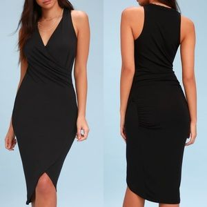 Lulus All the Right Moves Black Bodycon Wrap Dress